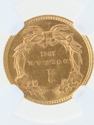 1861 Gold Dollar NGC MS61 G$1 rev zm