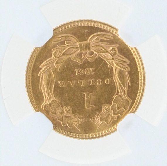 1861 Gold Dollar NGC MS61 G$1 rev zm
