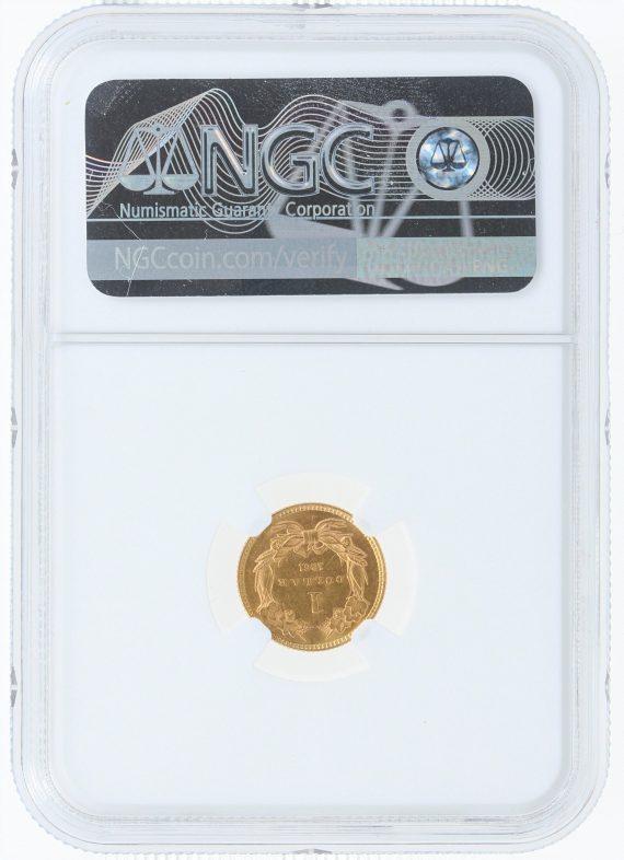 1861 Gold Dollar NGC MS61 G$1 rev