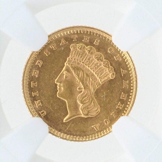 1861 Gold Dollar NGC MS61 G$1 obv zm