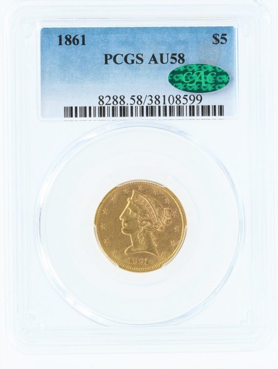 1861 Gold Eagle PCGS AU58 $5 CAC 08599 obv