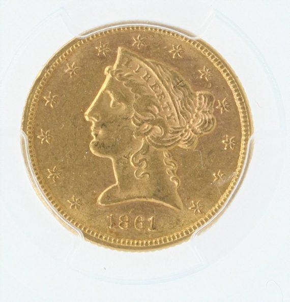 1861 Gold Eagle PCGS AU58 $5 CAC 08599 obv-zm