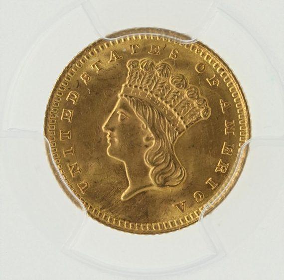 1861 Gold Dollar PCGS MS65 G$1 obv zm