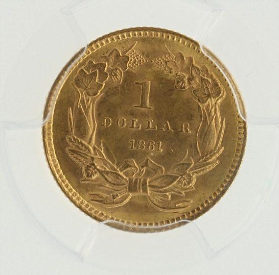 1861 Gold Dollar PCGS MS65 G$1 rev zm