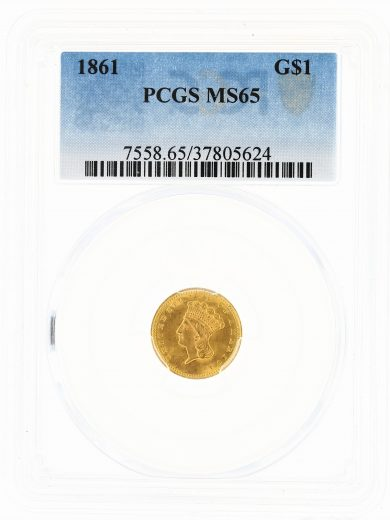 1861 Gold Dollar PCGS MS65 G$1 obv