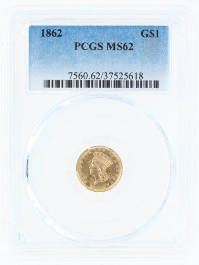 1862 Gold Dollar PCGS MS62 G$1 obv