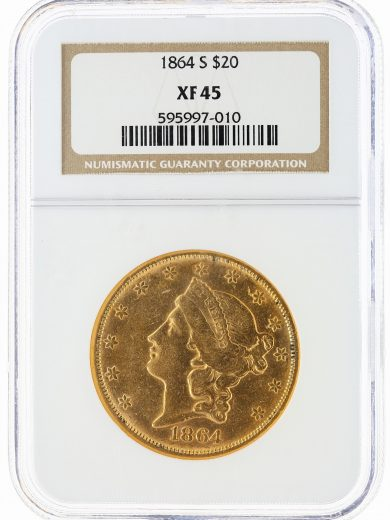 1864-S Double Eagle NGC XF45 $20 97010 obv