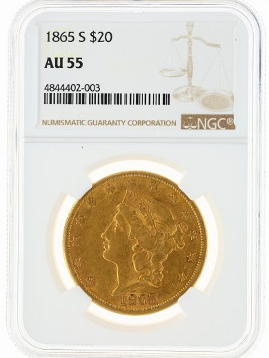 1865-S Double Eagle NGC AU55 $20 obv