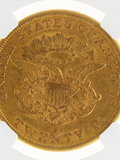 1865-S Double Eagle NGC AU55 $20 rev-zm