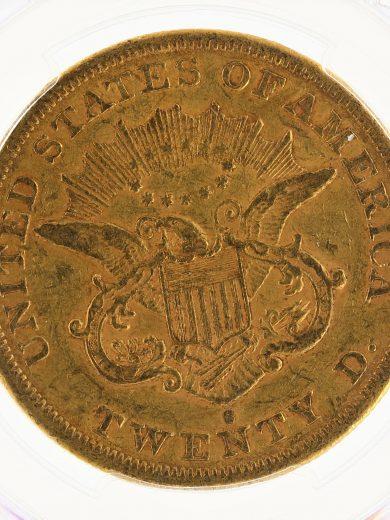 1865-S Civil War Double Eagle PCGS XF40 $20 88486 rev-zm