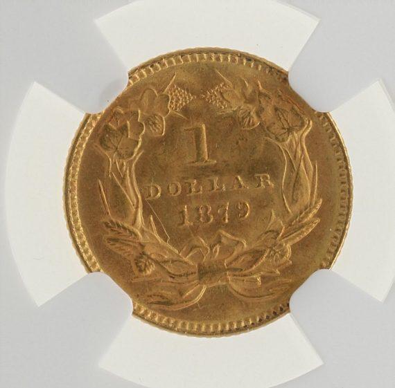 1879 Gold Dollar NGC MS63 G$1 rev zm
