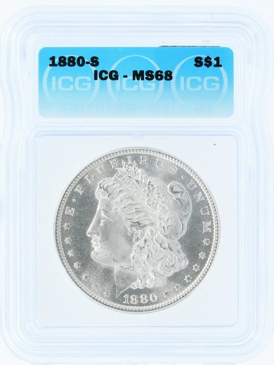 1880-S Morgan Dollar ICG MS68 S$1 obv