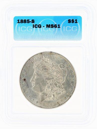 1885-S Morgan Dollar ICG MS61 S$1 obv
