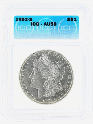 1892-S Morgan Dollar ICG AU50 S$1 obv