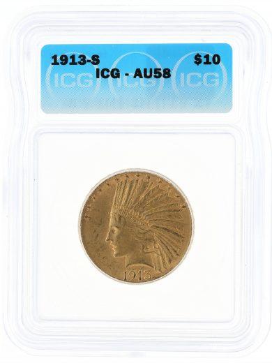 1913-S Gold Eagle ICG AU58 $10 30201 obv