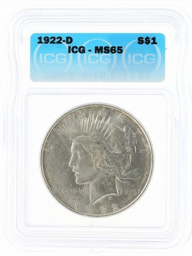 1922-D ICG MS65 Peace Dollar S$1 obv