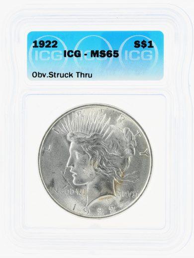 1922 Peace Dollar ICG MS65 S$1 Obverse Struck Thru obv