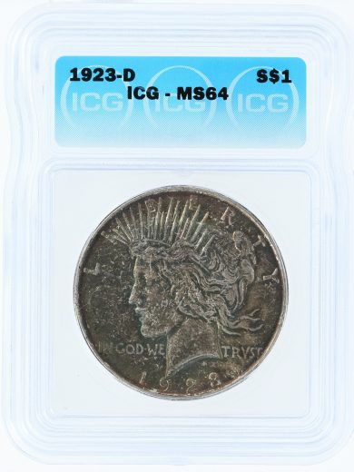 1923-D ICG MS64 Peace Dollar S$1 obv
