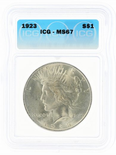 1923 ICG MS67 Peace Dollar S$1 obv