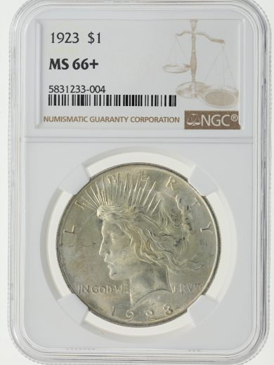 1923 Peace Dollar NGC MS66+ S$1 obv