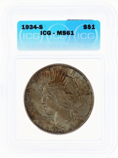 1934-S ICG MS61 Peace Dollar S$1 obv