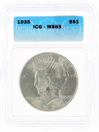 1935 ICG MS65 Peace Dollar S$1 obv