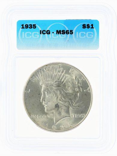 1935 ICG MS65 Peace Dollar S$1 obv