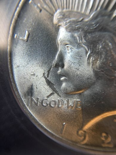 1922 Peace Dollar ICG MS65 S$1 Obverse Struck Thru struck thru zm