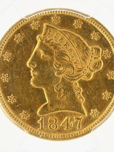 1847 Half Eagle PCGS AU58 RPD $5 obv zm