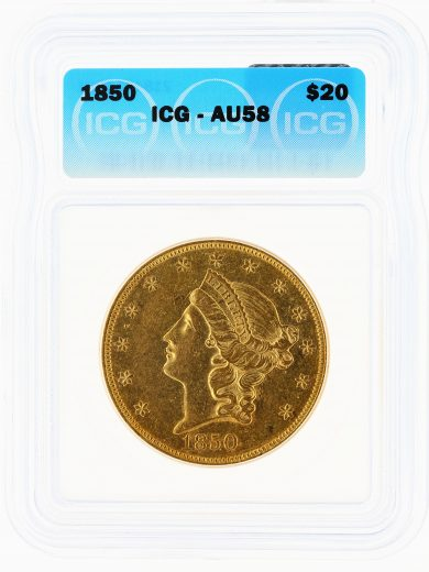 1850 Double Eagle ICG AU58 $20 Liberty obv