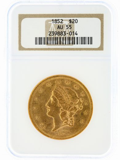 1852 Double Eagle NGC AU55 $20 Liberty