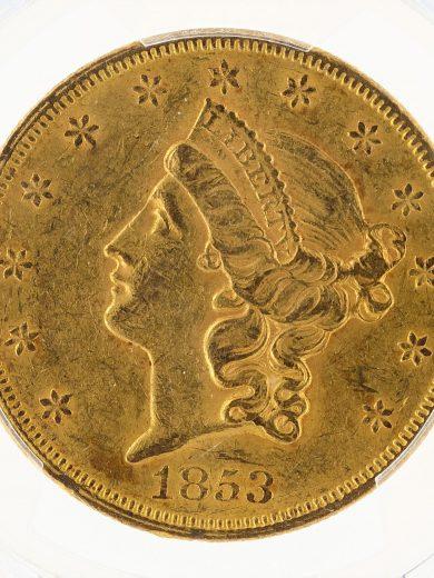 1853 Double Eagle PCGS AU55 $20 Liberty obv zm
