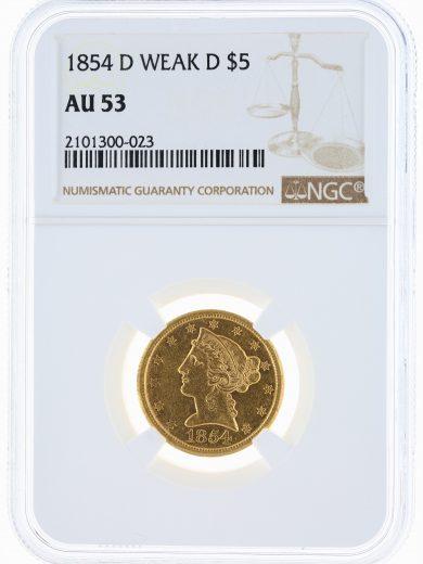 1854-D Weak D Half Eagle NGC AU53 $5 obv