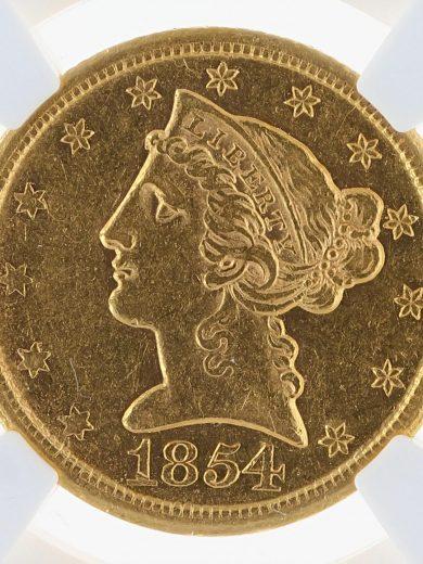 1854-D Weak D Half Eagle NGC AU53 $5 obv zm