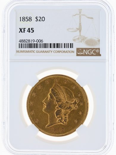 1858 Double Eagle NGC XF45 $20 Liberty obv