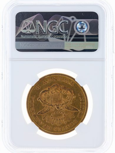 1858 Double Eagle NGC XF45 $20 Liberty rev