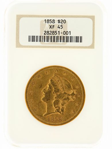 1858-S Liberty Head Double Eagle NGC XF45 $20 obv