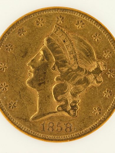 1858-S Liberty Head Double Eagle NGC XF45 $20 obv zm