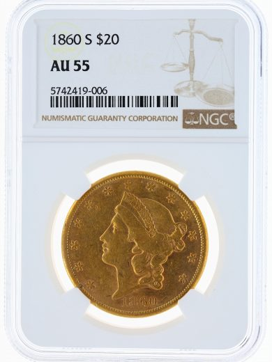 1860-S Liberty Head Double Eagle NGC AU55 $20 obv