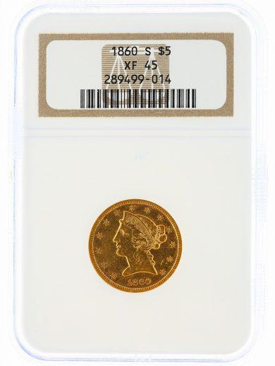 1860-S Half Eagle NGC XF45 $5