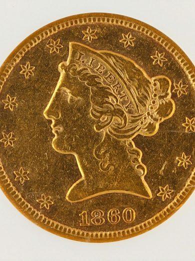1860-S Half Eagle NGC XF45 $5 obv zm