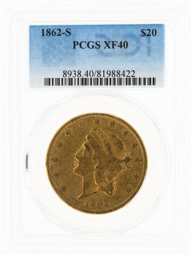 1862-S Double Eagle PCGS XF40 $20 Civil War Liberty obv