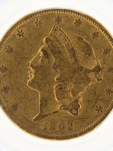 1862-S Double Eagle PCGS XF40 $20 Civil War Liberty obv zm