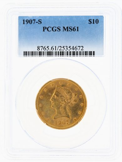 1907-S Gold Eagle PCGS MS61 $10 Liberty Head obv