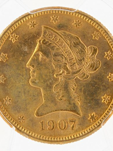 1907-S Gold Eagle PCGS MS61 $10 Liberty Head obv zm