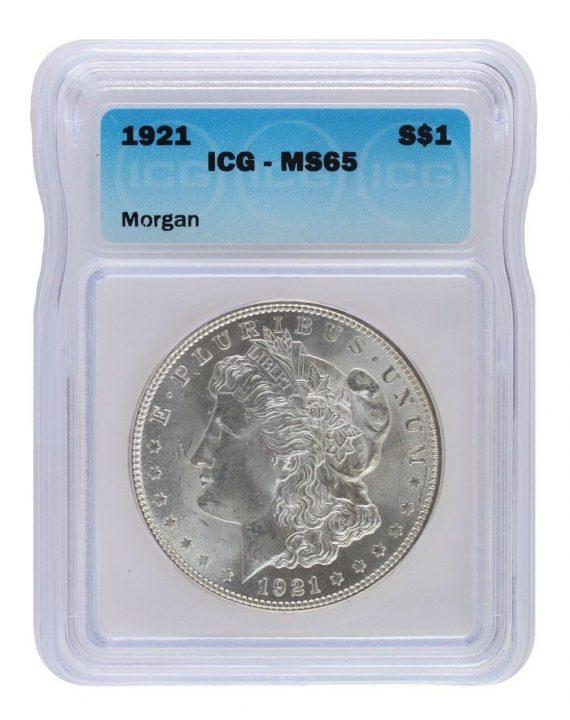 1921 Morgan Dollar ICG MS65