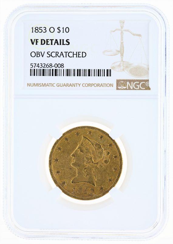 1853-O Gold Eagle NGC VF Details $10 Liberty Head obv