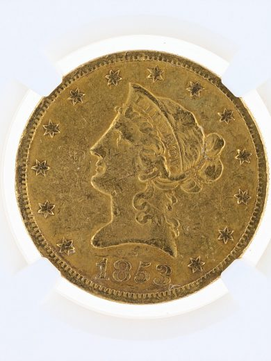 1853-O Gold Eagle NGC VF Details $10 Liberty Head obv zm