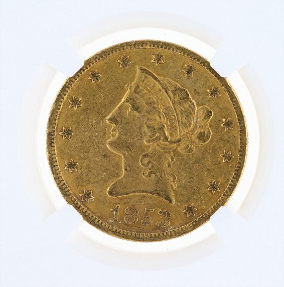 1853-O Gold Eagle NGC VF Details $10 Liberty Head obv zm