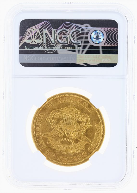 1854-S Liberty Head Double Eagle NGC AU Details Cleaned $20 rev